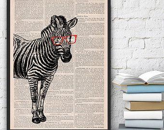Estampado de cebra de friki (con gafas) en Vintage zebra impresión libro imprimir Diccionario arte decoración del hogar, cartel de decoración de pared ANI003
