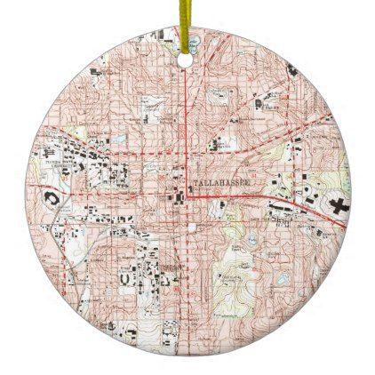 Tallahassee Florida Map (1999) Ceramic Ornament - home decor design art diy cyo custom