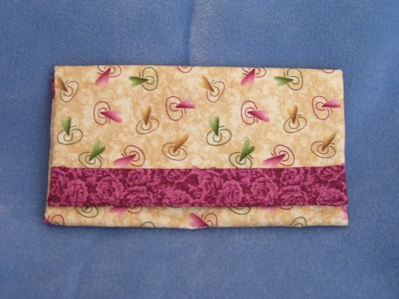 Trifold Clutch Fabric Wallet with Hearts and Roses by SpiritPenny, $33.00