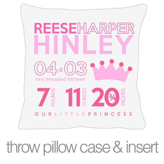 76 best pillows pillows images on pinterest attic loft and loft room birth announcement princess new baby gift custom by zoeysattic negle Images