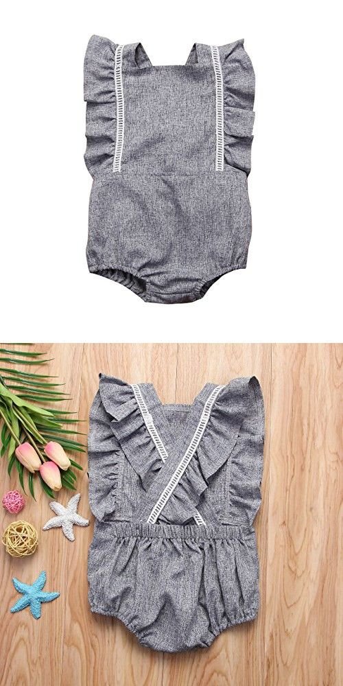 3a72c757b740 Mornbaby Newborn Girl Clothes Baby Girl Ruffles Romper Lace Sleeveless  Outfit Grey Bodysuit Clothes (Grey