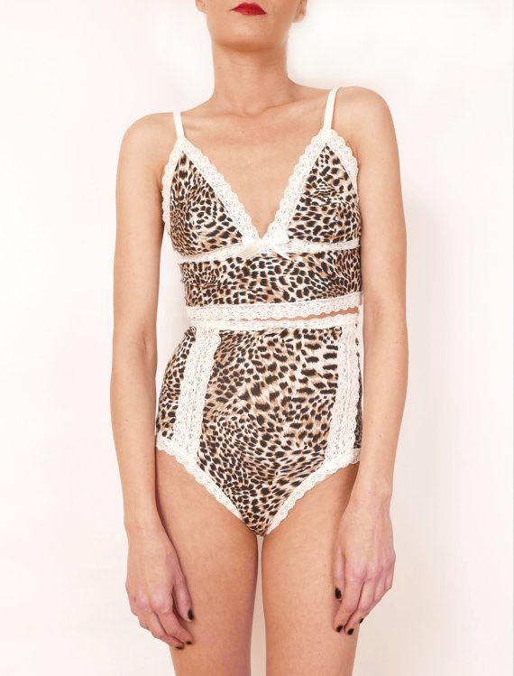 Leopard print lingerie set bustier bra with by CocoonUndies
