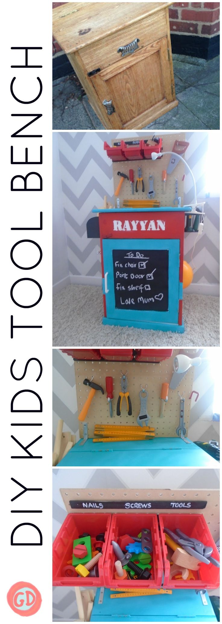 See how I created this easy to do kids tool bench out of an old wooden cabinet