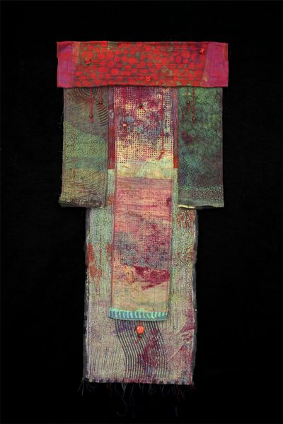 Kris Worthington ,  Kimono, Hand dyed fabric, Machine stiching, hand stiched and beaded  43.5 x 22 in