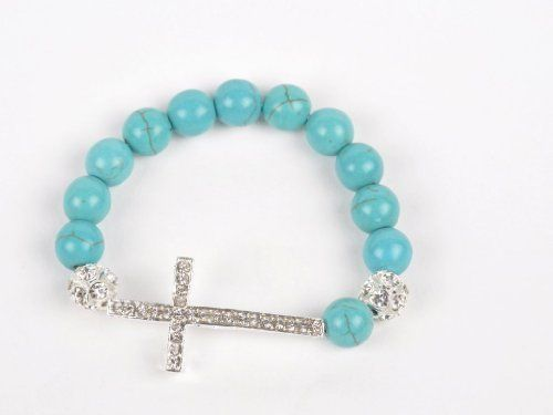 Gift Ideas for Women, Teens or Girls - Stretch Bracelets - Cool Turquoise Beaded Sideways Cross Christian Fahion... - List price: $29.99 Price: $5.99 + Free Shipping
