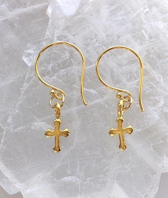 Tiny Gold Cross Earrings Small