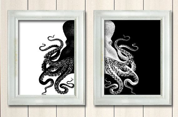 Black octopus prints black and white nautical print beach for Black and white mural prints