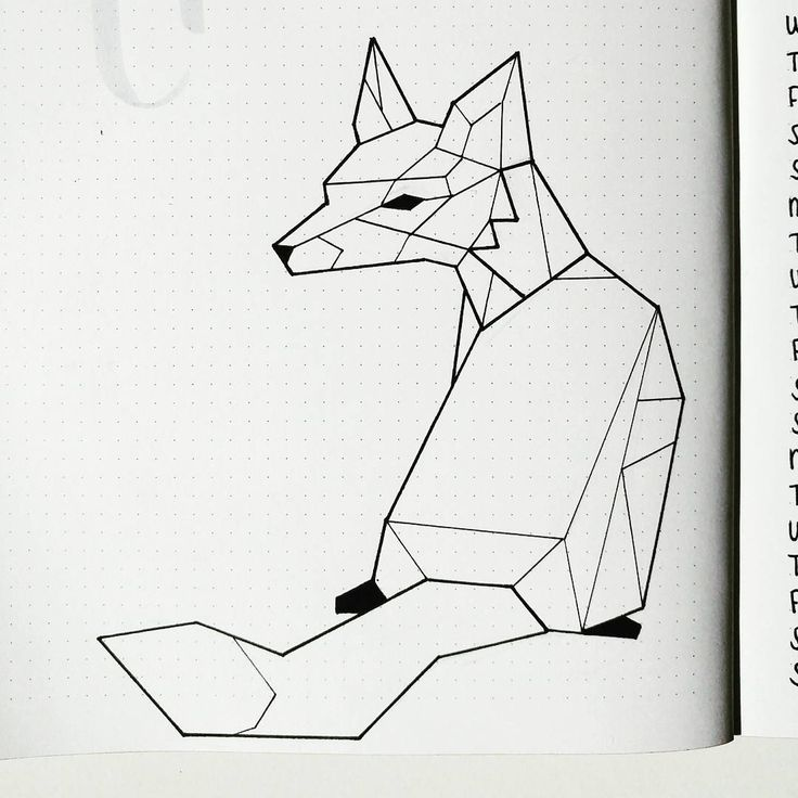 "She drew this fox in her bullet journal based off of examples she found on Pinterest when searching ""geometric fox."" I bet I could get some of my string art ideas down on paper using this method of drawing."
