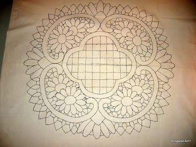 Romanian point lace pattern in a mandala design
