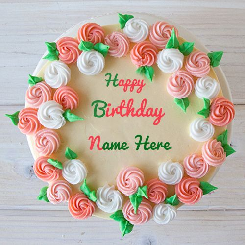 Homemade Birthday Cake With Your Custom Name Text