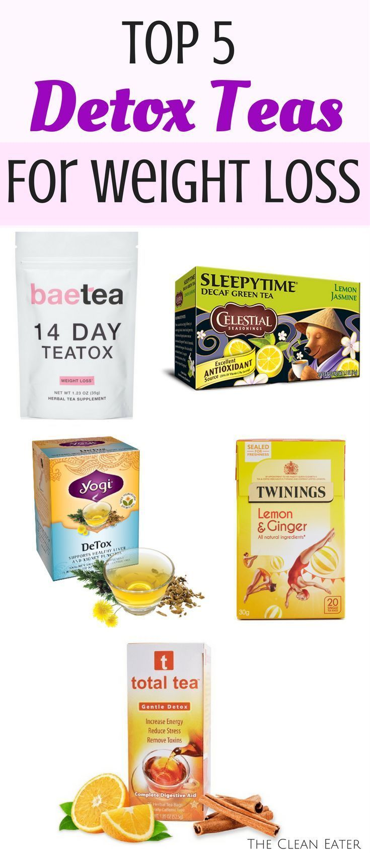The top 5 detox teas that are affordable and great for weight loss. De-bloat and flatten your tummy with these top recommended teas! |weight loss | detox| weight loss tips|clean eater weight loss| thecleaneater.com