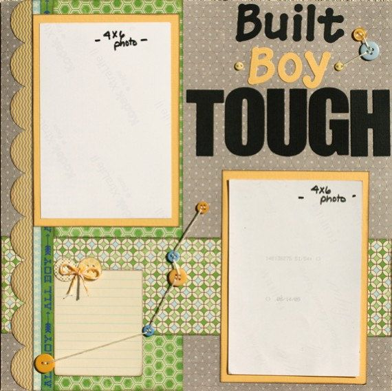 Premade Scrapbook Page 12 x 12 Boy Layout Built by designstudioL