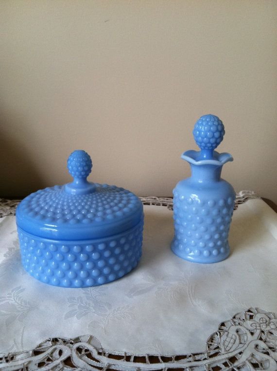 Blue Milk Glass Hobnail Dresser Set Powder Jar and Perfume Bottle by Imperial Glass