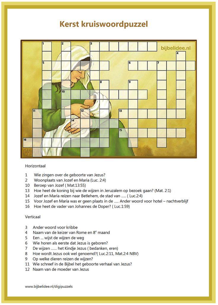 kruiswoord puzzel met vragen over het Kerstverhaal. Meer puzzels? Kijk op www.bijbelidee.n/digipuzzels