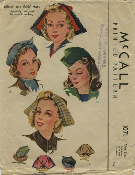 Vintage Hat Sewing Pattern | McCall 1071 | Year 1943 | One Size