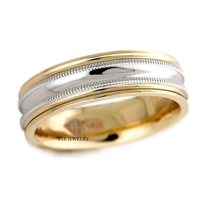 14K SOLID WHITE YELLOW GOLD WEDDING BAND Width 6mm Metal Solid White Yellow Gold We Will Re Size Your Ring Up To One Full Free Of Charge