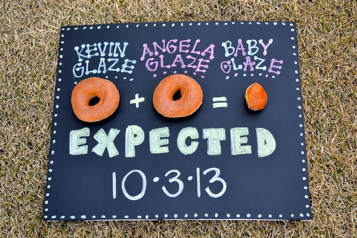 """Our Pregnancy Announcement. ) We used """"glazed"""" donuts"""
