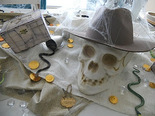 Table scape for Indiana Jones adventure party