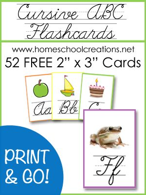Cursive ABC flashcards and posters for homeschool or classroom using featuring 2 beginning sound clip art and photo images for each letter of the alphabet.