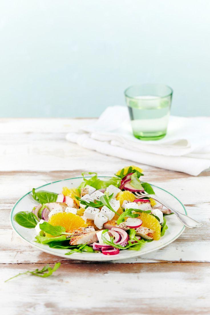 Broileri-vuohenjuustosalaatti | K-ruoka #sitrushedelmät