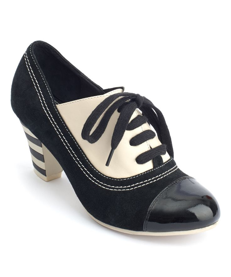 Look at this Lola Ramona Black & White Elsie Leather Oxford Pump on #zulily today!