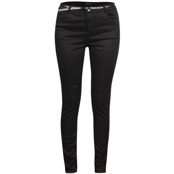 Čierne skinny nohavice s opaskom Dorothy Perkins | My Polyvore Finds |... ❤ liked on Polyvore featuring dorothy perkins