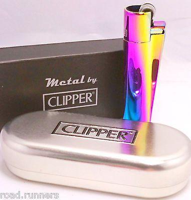 PURPLE OIL RAINBOW METAL CLIPPER LIGHTER & CHROME CASE METALLIC GENUINE NEW