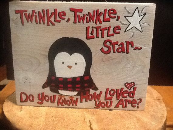 Penguin baby in plaid is so cozy hand painted on by expressionshop