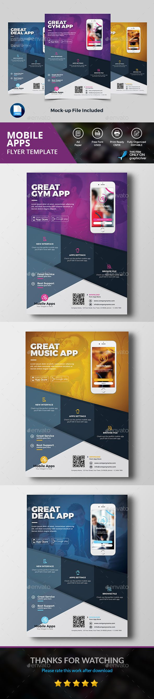 Mobile App Flyer - Commerce Flyers Download here: https://graphicriver.net/item/mobile-app-flyer/18979347/?classicdesignp