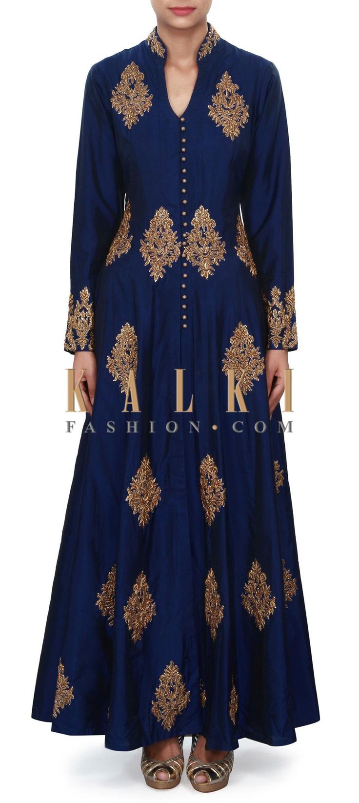 Buy Online from the link below. We ship worldwide (Free Shipping over US$100) Price- $659 Click Anywhere to Tag http://www.kalkifashion.com/navy-blue-suit-adorn-in-zardosi-embroidered-butti-only-on-kalki.html