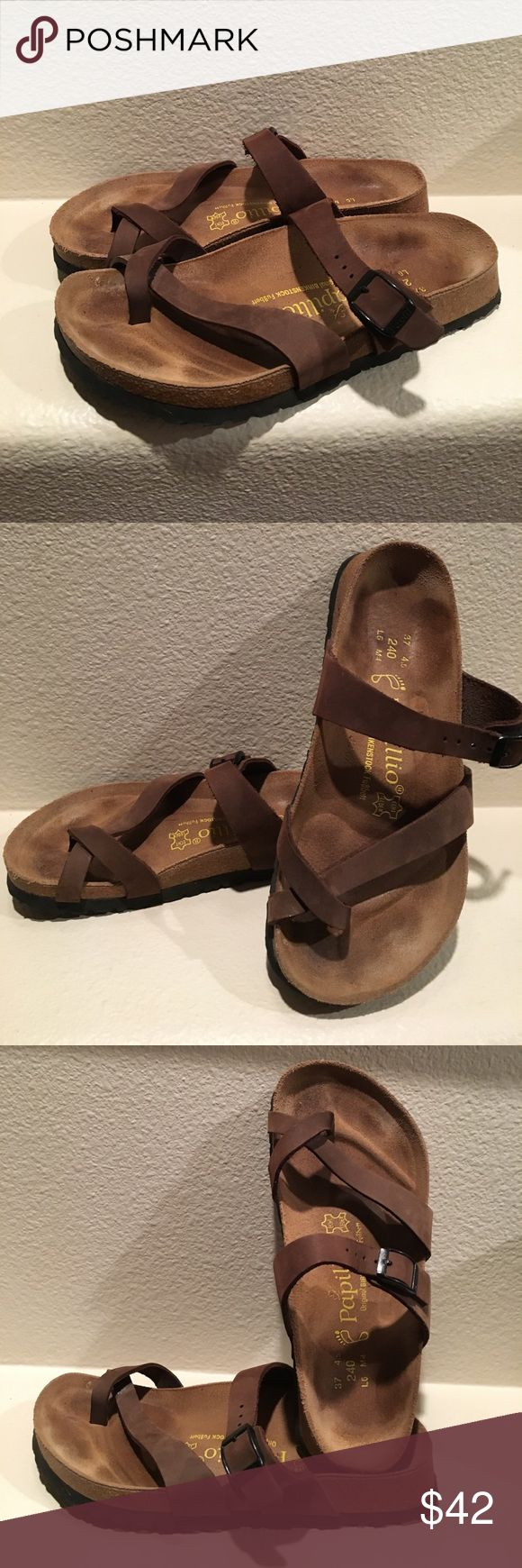 Birkenstock sandals Papillio sandals by Birkenstock. Cute & comfy toe ring style with one adjustable buckle. A nice neutral light brown color. I've worn these a handful of times and they always felt too small - they are size 37. Birkenstock Shoes Sandals