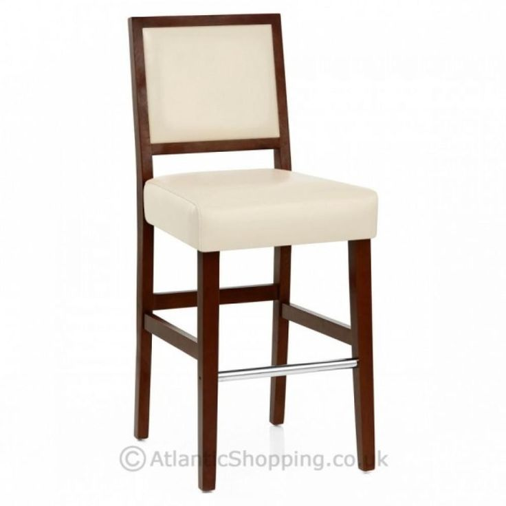 Auction**SET OF 2** Jasper Walnut Cream Bonded Leather Kitchen Bar Stool (PB107)