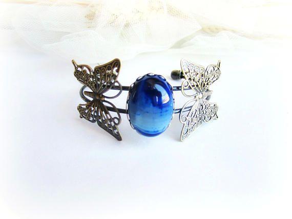 Butterfly cuff bracelet blue stone cabochon bracelet