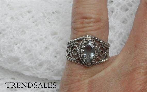Ukendt - ring 925 sølv med akvamarin