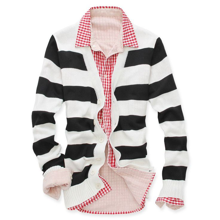 Free Shipping 2012 Autumn Preppy Style Brief Large Stripe Cardigan Male Sweater Fashion Outerwear Wholesale L,XL Blue,Black