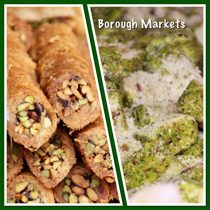 Baklava rolls and the most amazing Pistachio marshmallow, Borough markets London.