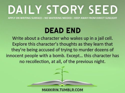 ⚘ DAILY STORY SEED⚘  Dead End Write about a character who wakes up in a jail cell. Explore this character's thoughts as they learn that they're being accused of trying to murder dozens of innocent people with a bomb. Except… this character has no recollection, at all, of the previous night.  Want more writerly content? Followmaxkirin.tumblr.com!