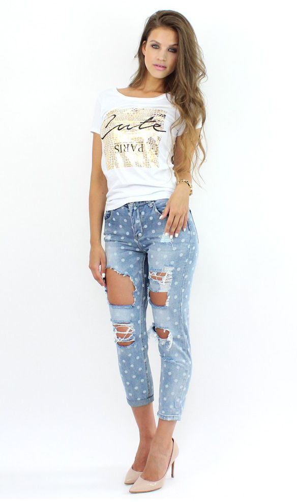 Polka Dot Jeans add a youthful touch to your #casual look..:)  #polkadot #jeans #skinny #shopping