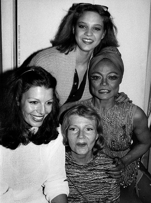 Rita Hayworth and Eartha Kitt backstage with their daughters, Yasmin Kahn & Kitt McDonald following Eartha's performance in the musical Timbuktu at the Mark Hellenger Theater, June 1978,