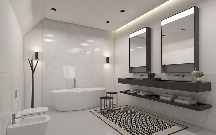 BATHROOM Residential design by Domestic Design. Visual by Ando Studio