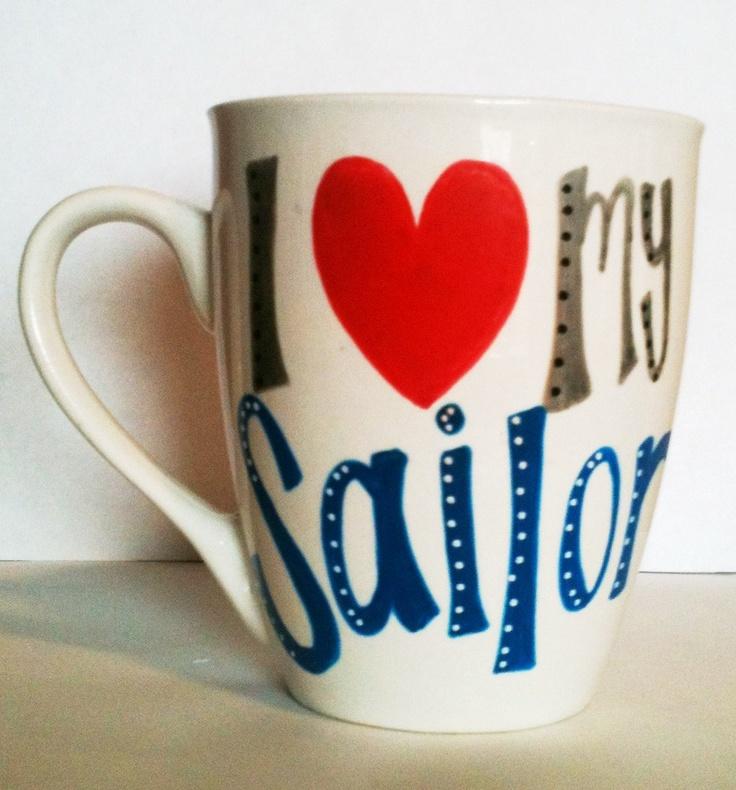 "Handpainted ""I Love My Sailor"" Coffee mug, anchor, nautical, anchors, Navy, US Navy. $7.00, via Etsy."