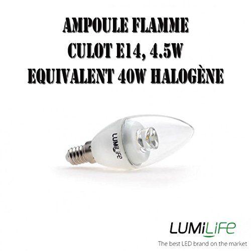 Ampoule LED E14 – 4,5 watts (équiv. 40w) – Flamme – Soldes: Ampoule Led flamme, culot E14, 4,5W en verre transparentCette ampoule Led de…