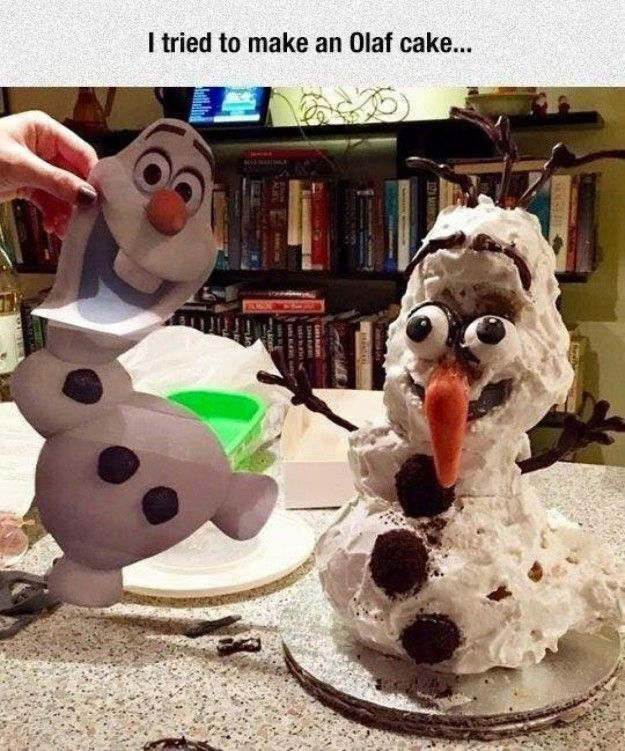 And this Olaf cake you shouldn't trust to be alone with your kids.   19 Painfully Funny Kids' Birthday Cake Fails