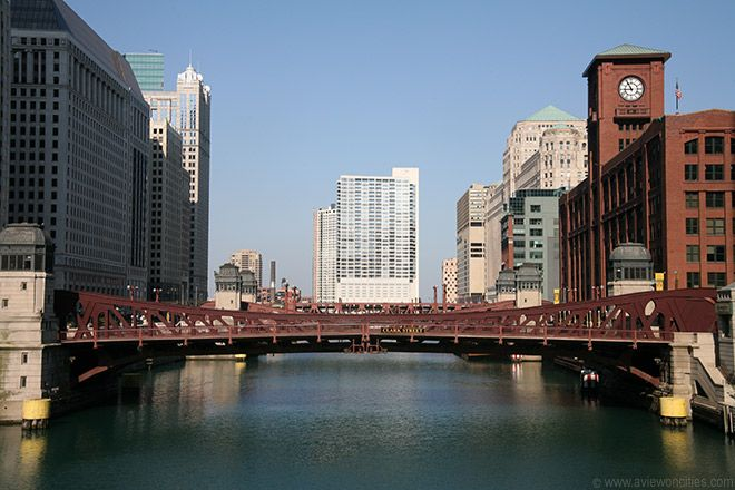 Chicago River.  Take a Wendella Boat ride on the river on a lovely day.