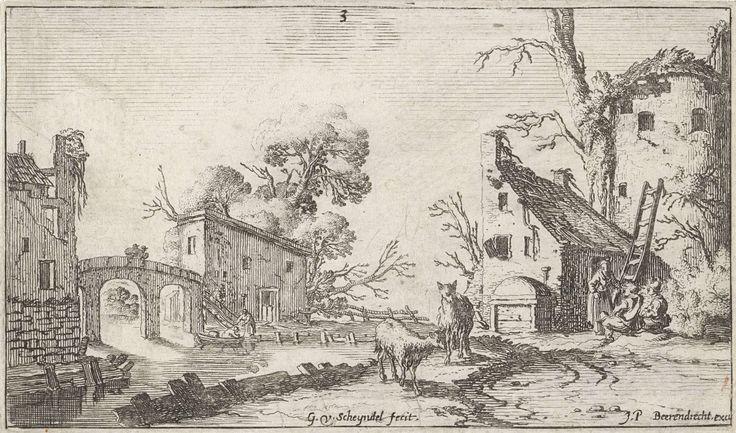 Gillis van Scheyndel (I) | Boerderij en toren aan een rivier (het Gehoor), Gillis van Scheyndel (I), Johannes Pietersz. Berendrecht, 1618 - 1645 | Het gehoor. Aan een rivier liggen een boerderij, een toren en andere gebouwen. Tegen de toren staat een ladder waarbij een vrouw en twee mannen. Over het water loopt een brug en op de rivier twee figuren in een boot. Op de voorgrond twee schapen. De prent maakt deel uit van een serie van landschappen met de vijf zintuigen.