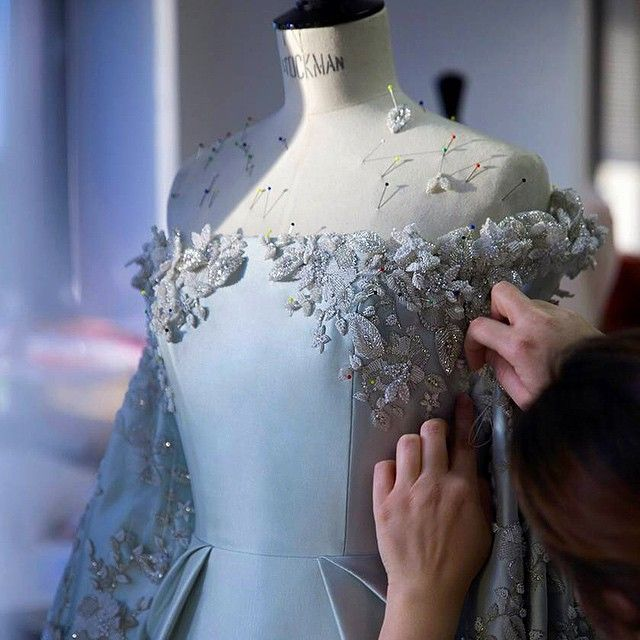 Finishing touches: Only 2 days to go until the unveiling of our Spring/Summer 2015 couture collection #ralphandrusso #SS15 #springsummer #paris #couture #collection #fashionshow #exclusive #atelier