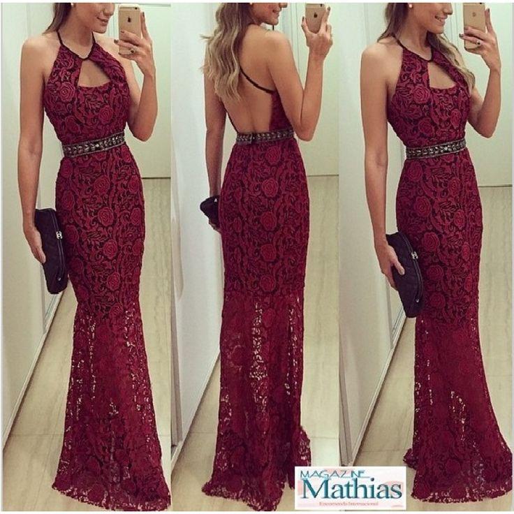 Vestido Longo Bordeaux