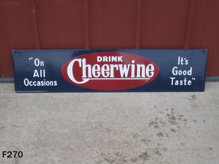 VINTAGE CHEERWINE CHERRY SODA POP BOTTLE DRINK ADVERTISING METAL STORE SIGN RARE #Cheerwine