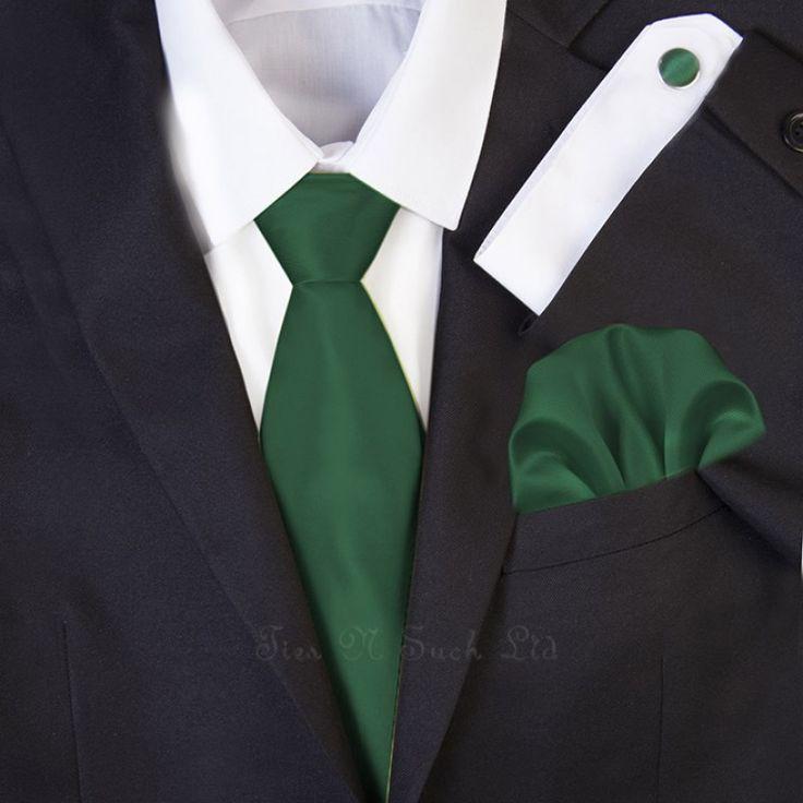 Dark Green Wedding Necktie Set   Solid Formal Tie Sets