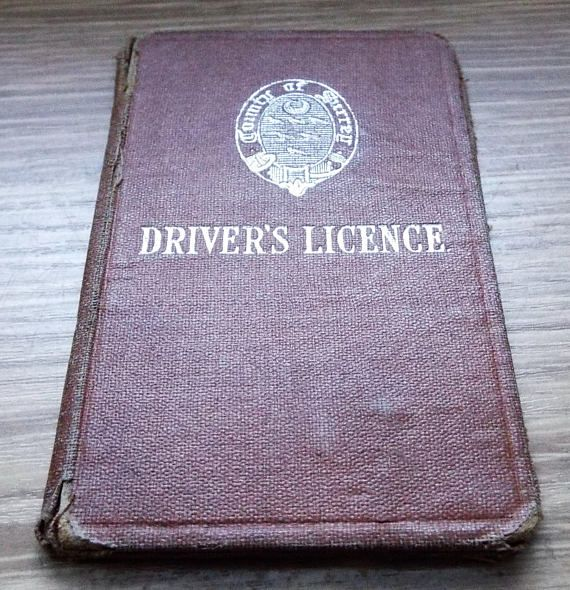 1922 County of Surrey Drivers Licence  Vintage Driving